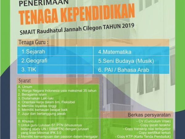 Penerimaan Guru SMA Islam Terpadu Raudhatul Jannah Cilegon tahun 2019