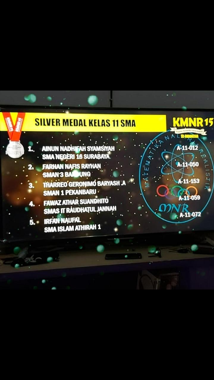 Peserta Didik SMAIT Raudhatul Jannah Cilegon Berhasil Mendapatkan Silver Medal Untuk Kelas XI SMA Pada Lomba KMNR 15 Tingkat Nasional